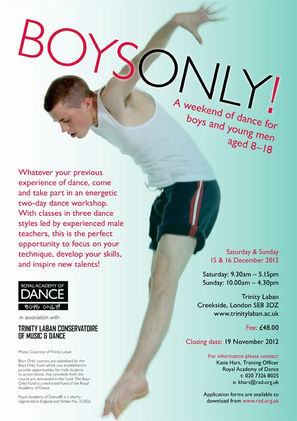 Boys Only! Workshop at Trinity Laban